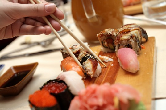 The sushi and chopsticks in japan restaurant