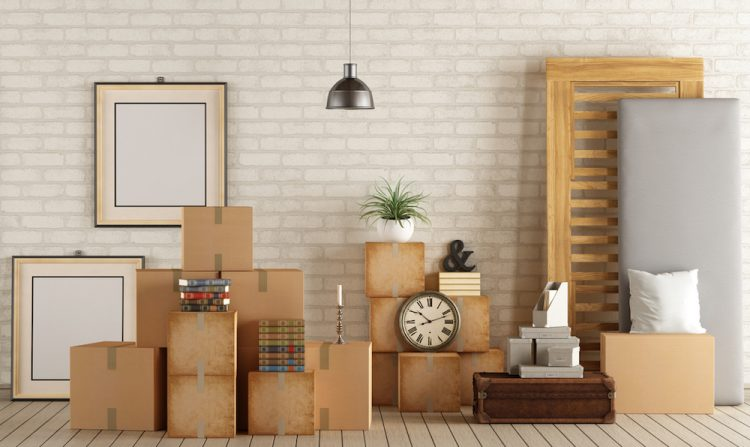 Interior moving house with cardboard boxes,bed and other objects - 3d rendering - Note: the room does not exist in reality, Property model is not necessary